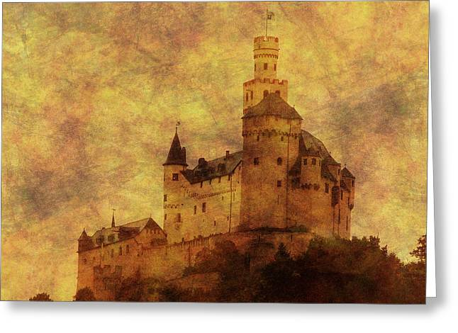 Castle In Valley Greeting Cards - Marksburg Castle in the Rhine River Valley Greeting Card by Greg Matchick