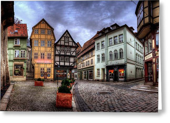 Haus Pyrography Greeting Cards - Markt Quedlinburg Greeting Card by Steffen Gierok