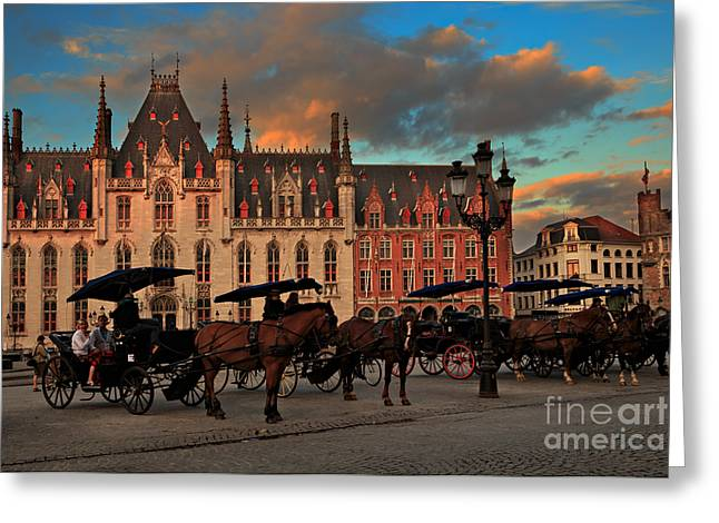 Markt Greeting Cards - Markt Square at dusk in Bruges Greeting Card by Louise Heusinkveld