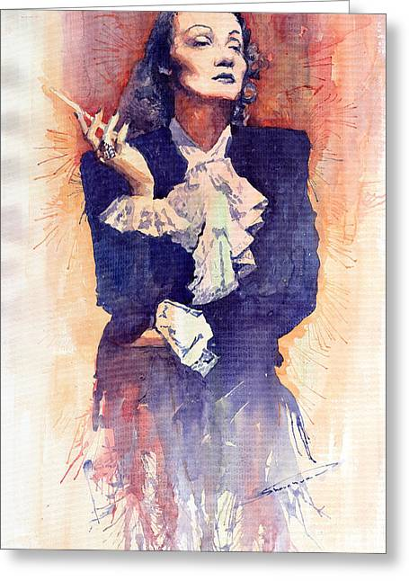 Dietrich Greeting Cards - Marlen Dietrich  Greeting Card by Yuriy  Shevchuk