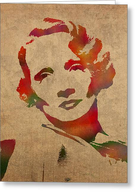 Dietrich Greeting Cards - Marlene Dietrich Movie Star Watercolor Painting on Worn Canvas Greeting Card by Design Turnpike