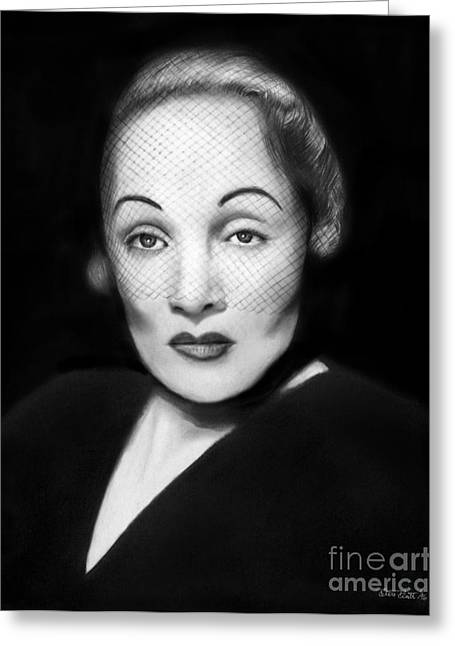 Eyebrow Greeting Cards - Marlene Dietrich Greeting Card by Peter Piatt