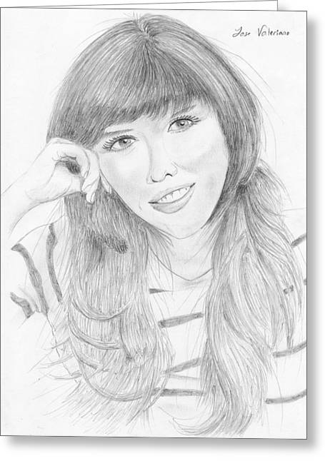 Portrait Poster Greeting Cards - Marlene Favela Greeting Card by Jose Valeriano