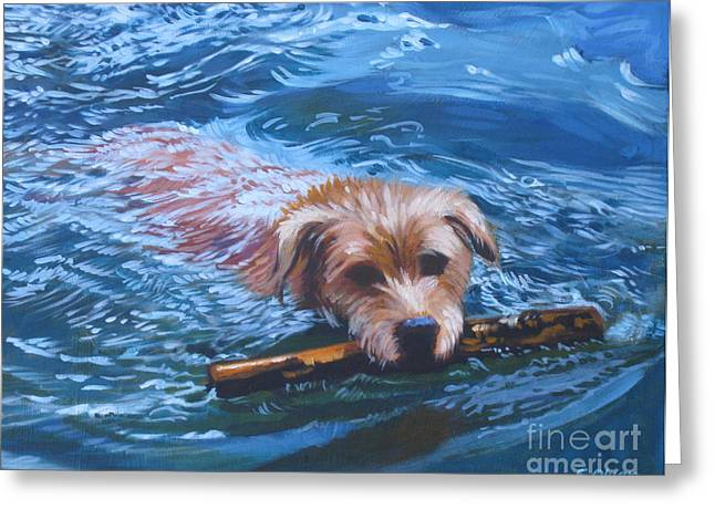 Dog Swimming Greeting Cards - Marley Swimming Greeting Card by Elisabeth Olver