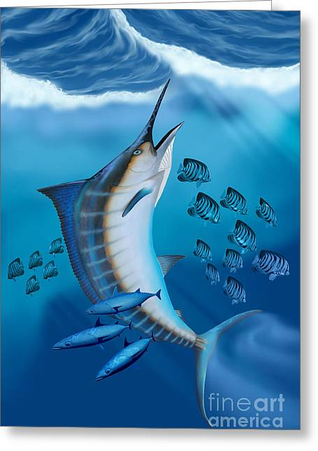 Swordfish Greeting Cards - Marlin Fish Greeting Card by Corey Ford
