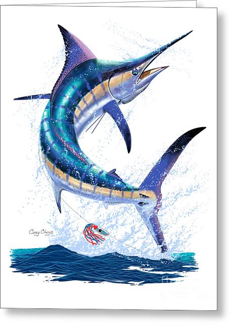 Black Bart Lures Greeting Cards - Marlin leap Greeting Card by Carey Chen