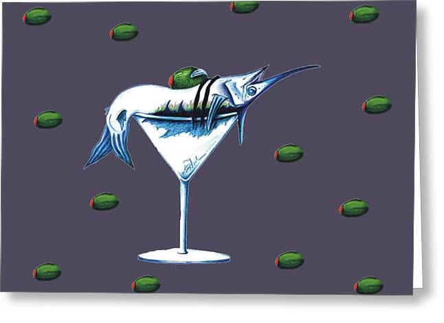 Marlin Tournaments Greeting Cards - Marlin Martini Greeting Card by Karen Rhodes