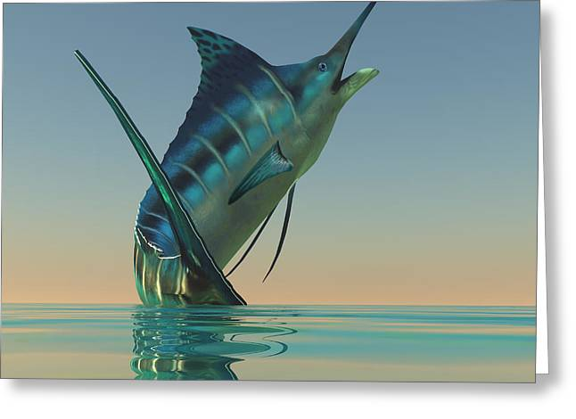 Sea Creature Pictures Greeting Cards - Marlin Sport Fish Greeting Card by Corey Ford