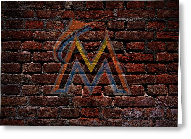 Centerfield Greeting Cards - Marlins Baseball Graffiti on Brick  Greeting Card by Movie Poster Prints