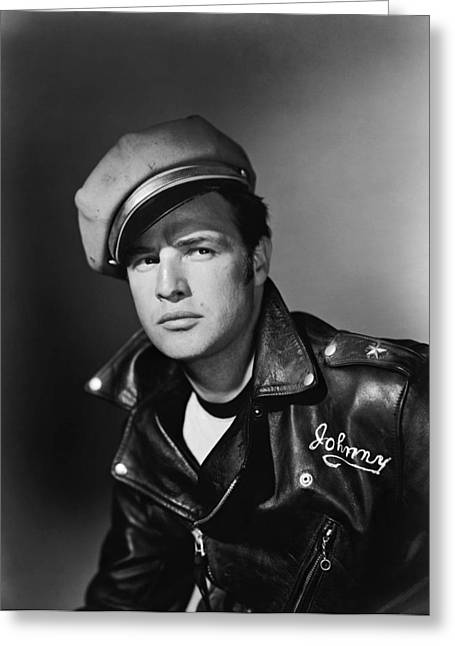 Famous Person Portrait Greeting Cards - Marlon Brando in The Wild One 1953 Greeting Card by Mountain Dreams