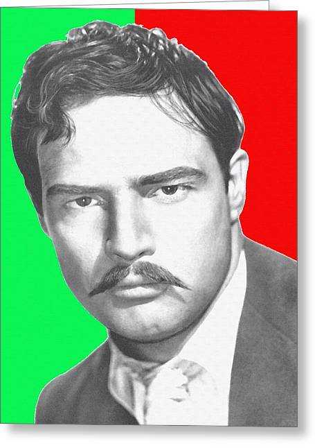 Mustaches Mixed Media Greeting Cards - Marlon Brando in Viva Zapata Greeting Card by Art Cinema Gallery