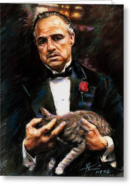 Cat Drawings Greeting Cards - Marlon Brando The Godfather Greeting Card by Viola El
