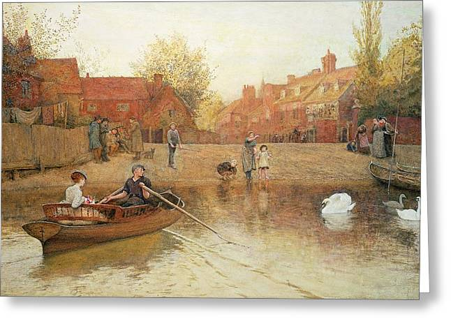 Swans... Greeting Cards - Marlow Ferry Greeting Card by Frederick Walker