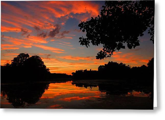 Raymond Salani Iii Greeting Cards - Marlu Lake at Sunset Greeting Card by Raymond Salani III