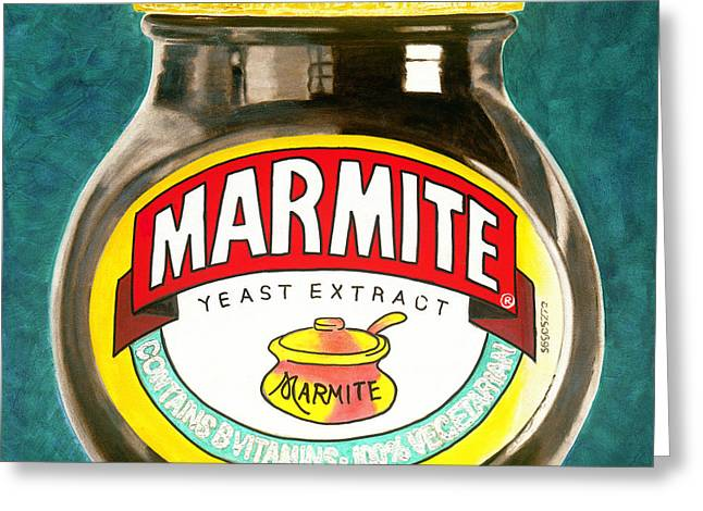 British Bulldog Greeting Cards - Marmite Greeting Card by Barry Novis