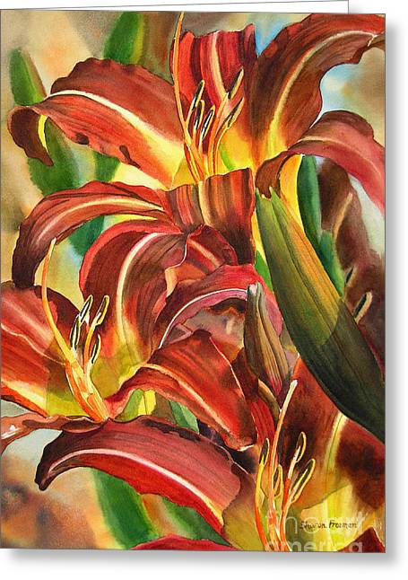 Watercolor! Art Greeting Cards - Maroon and Gold Lilies Greeting Card by Sharon Freeman
