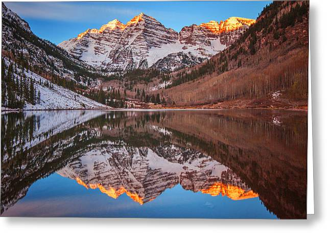 Metal Art Greeting Cards - Maroon Bells Alpenglow Greeting Card by Darren  White
