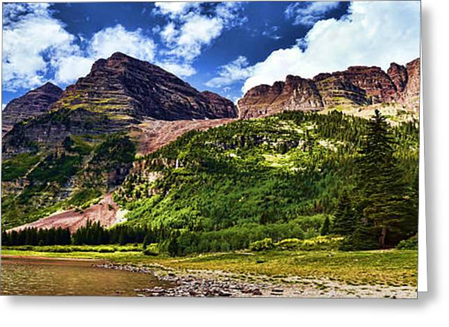 Mountains And Lake Greeting Cards - Maroon Bells and Crater Lake Greeting Card by Ken Smith