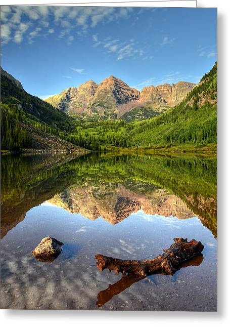 Mountains And Lake Greeting Cards - Maroon Bells and Maroon Lake Greeting Card by Ken Smith