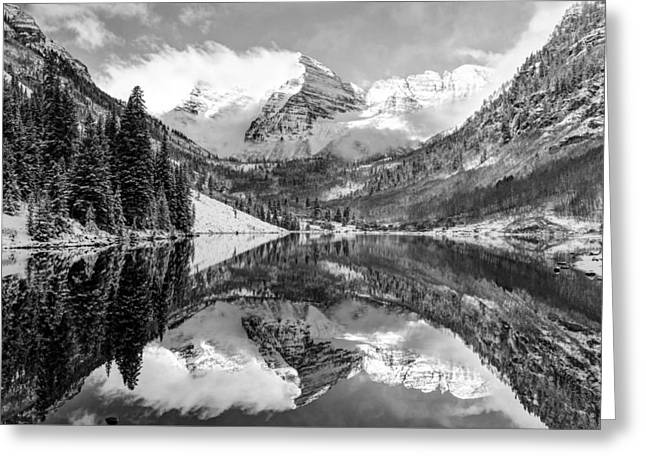 Ski Art Greeting Cards - Maroon Bells BW Covered In Snow - Aspen Colorado Greeting Card by Gregory Ballos