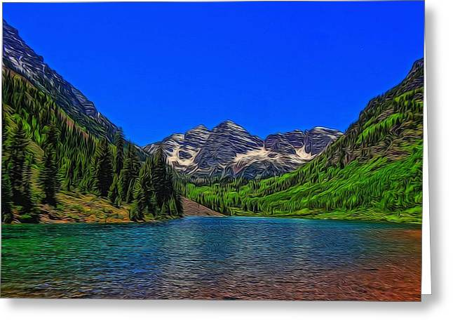 Spectacular Mixed Media Greeting Cards - Maroon Bells Colorado In Summer Greeting Card by Dan Sproul
