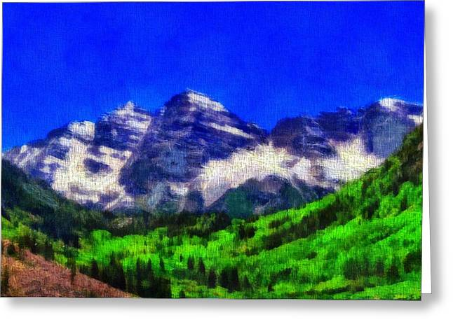 Pines Mixed Media Greeting Cards - Maroon Bells Colorado Peaks On Canvas Greeting Card by Dan Sproul