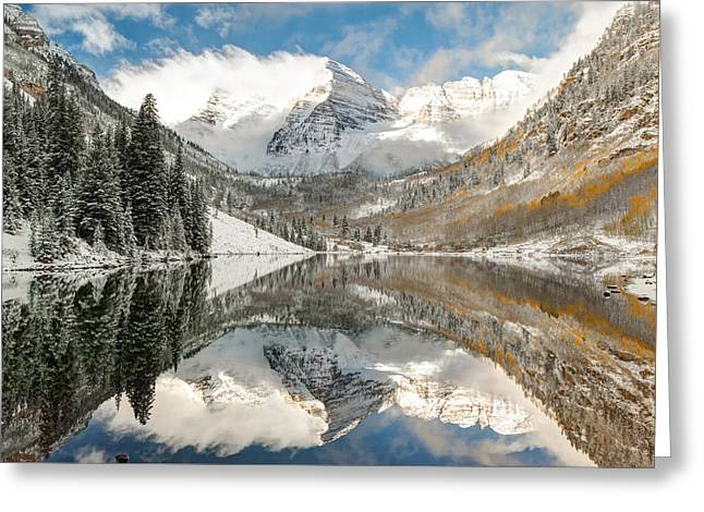 Ski Art Greeting Cards - Maroon Bells Covered In Snow - Aspen Colorado Greeting Card by Gregory Ballos