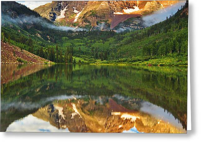 Maroon Bells Fog Attack Greeting Card by Darren  White