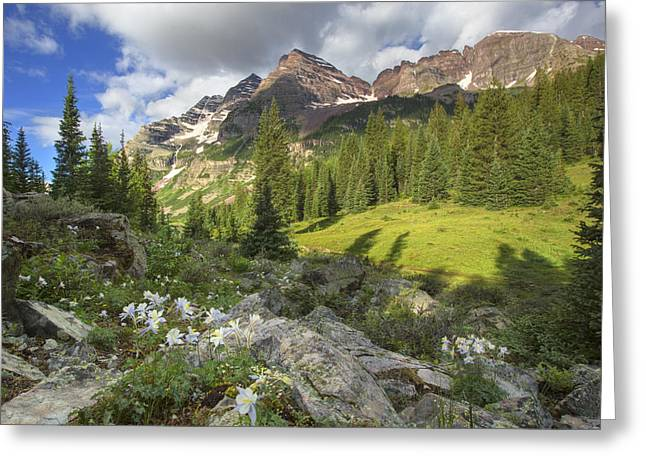 Colorado Prints Greeting Cards - Maroon Bells Images - Columbine and the Bells on a July Morning  Greeting Card by Rob Greebon