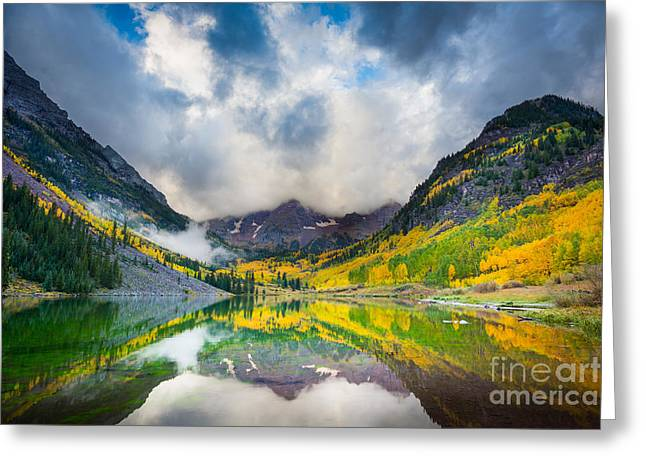 Fog; Landscape; Mist; Mountain; Mountains; Nature; Nobody; Outdoors; Outside; River; Rivers Greeting Cards - Maroon Bells Morning Clouds Greeting Card by Inge Johnsson