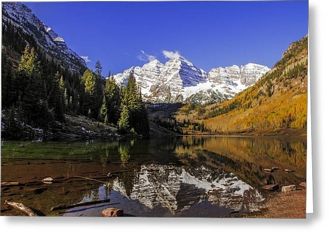 Scenic Drive Greeting Cards - Maroon Bells Panorama Greeting Card by Teri Virbickis