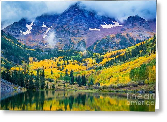 Fog; Landscape; Mist; Mountain; Mountains; Nature; Nobody; Outdoors; Outside; River; Rivers Greeting Cards - Maroon Bells Peaks Greeting Card by Inge Johnsson