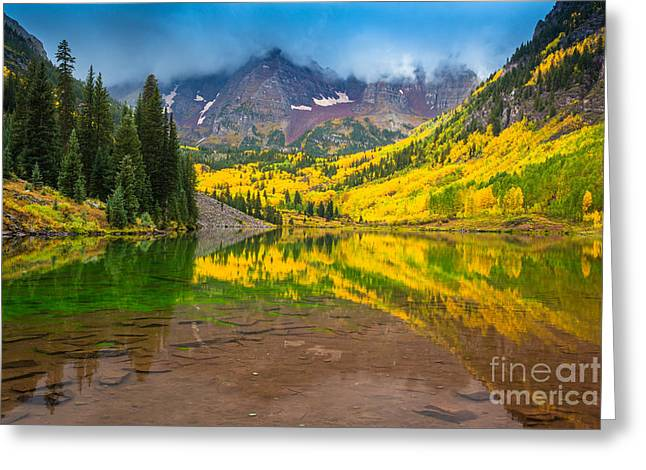 Reflective Greeting Cards - Maroon Bells Reflection Greeting Card by Inge Johnsson