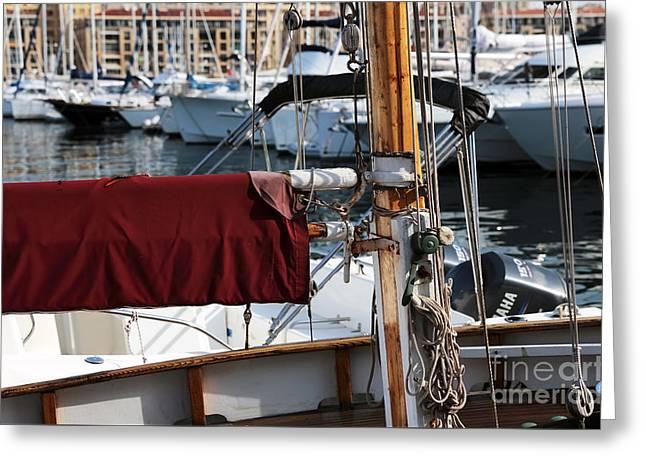 Sailboats Docked Greeting Cards - Maroon Sail  Greeting Card by John Rizzuto