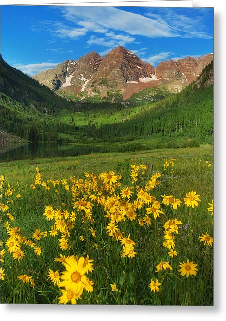 Colorado Mountain Prints Greeting Cards - Maroon Summer Greeting Card by Darren  White