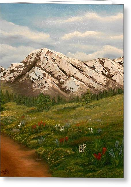 Mountain Road Greeting Cards - Maroon Trail Splendor Greeting Card by Sheri Keith