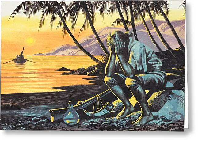 Ocean Shore Drawings Greeting Cards - Marooned Man Greeting Card by Ron Embleton