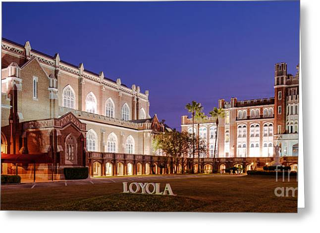 Name Gifts Greeting Cards - Marquette Hall and Holy Name of Jesus Catholic Church at Loyola University New Orleans Louisiana Greeting Card by Silvio Ligutti