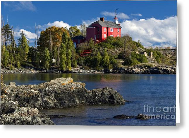 Recently Sold -  - North Sea Greeting Cards - Marquette Harbor Light - D003224 Greeting Card by Daniel Dempster