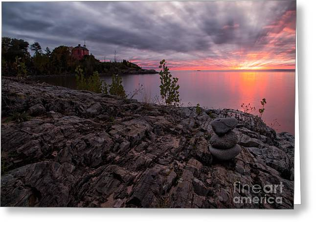Lakescape Greeting Cards - Marquette Harbor Lighthouse Greeting Card by Todd Bielby
