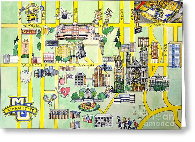 College Drawings Greeting Cards - Marquette Map Greeting Card by Marquette Map