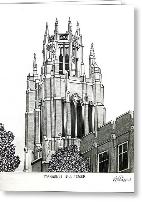College Campus Buildings Drawings Greeting Cards - Marquette University Greeting Card by Frederic Kohli