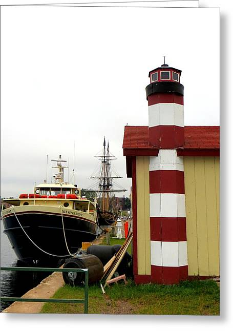 Schooner Greeting Cards - Marquettes Lower Harbor Greeting Card by Jaunine Ammerman