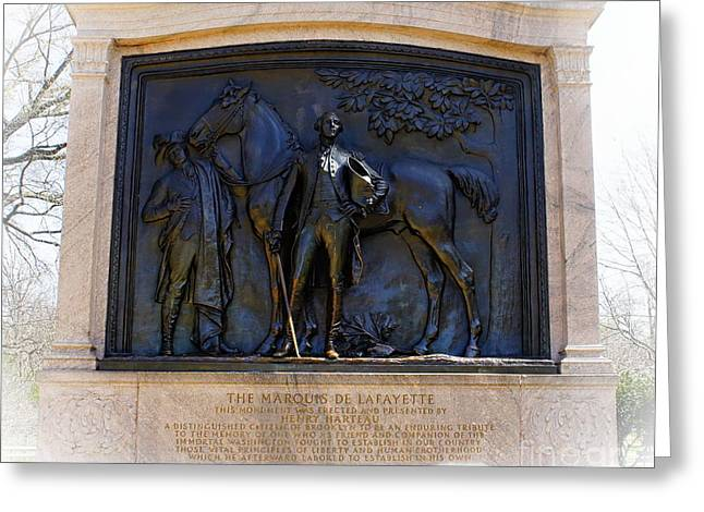 Prospects Greeting Cards - Marquis de Lafayette Monument in Brooklyn NY Greeting Card by Lilliana Mendez