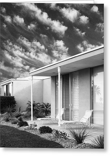 Slider Greeting Cards - MARRAKESH LOUNGE BW Palm Springs Greeting Card by William Dey