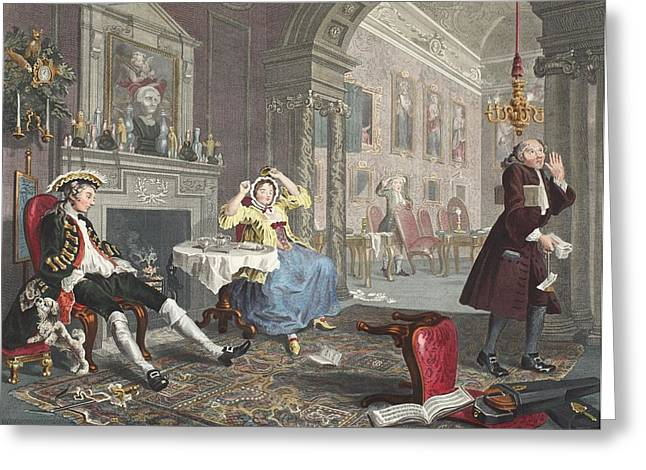 Stretching Drawings Greeting Cards - Marriage A La Mode, Plate Ii, The Tete Greeting Card by William Hogarth