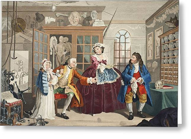 Moral Drawings Greeting Cards - Marriage A La Mode, Plate Iii, The Greeting Card by William Hogarth
