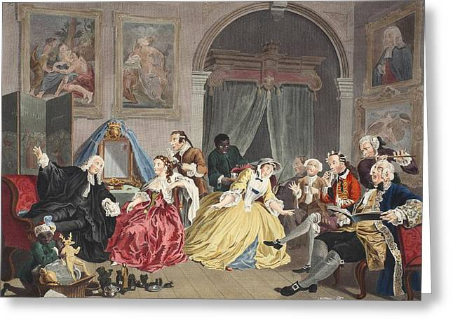 Moral Drawings Greeting Cards - Marriage A La Mode, Plate Iv, The Greeting Card by William Hogarth
