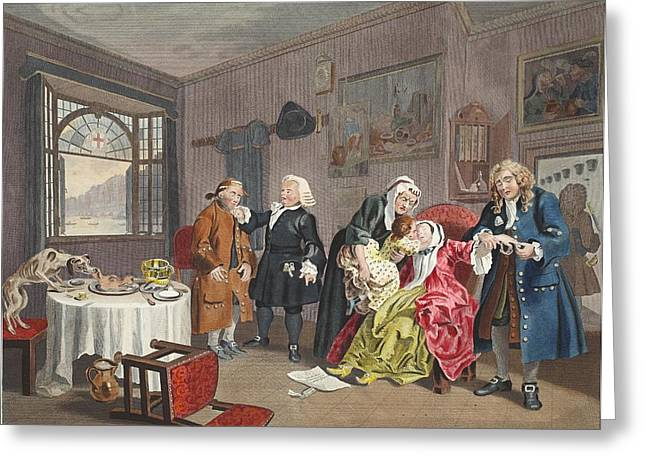 Marriage A La Mode, Plate Vi, The Ladys Greeting Card by William Hogarth