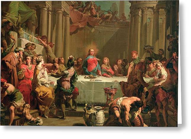 Water Jug Greeting Cards - Marriage feast at Cana Greeting Card by Gaetano Gandolfi